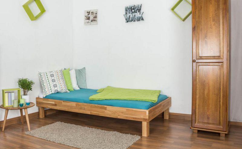 Futonbett / Massivholzbett Wooden Nature 04 Eiche geölt  - Liegefläche 100 x 200 cm (B x L)