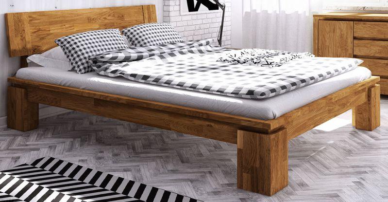 Doppelbett Tasman 01 Wildeiche massiv geölt - Liegefläche: 160 x 200 cm (B x L)