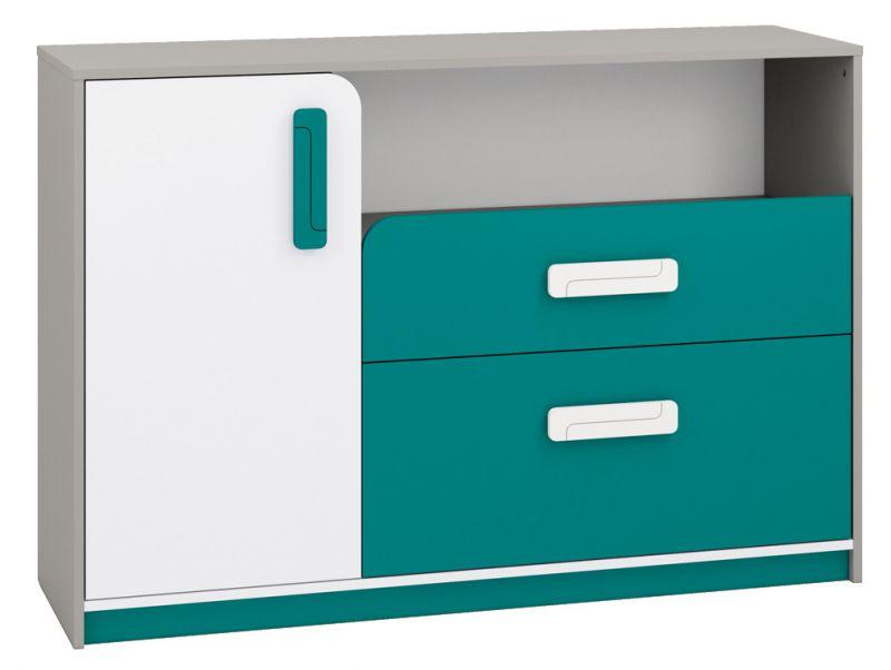 Kinderzimmer - Kommode Renton 09, Farbe: Platingrau / Weiß / Blaugrün - Abmessungen: 94 x 138 x 40 cm (H x B x T), mit 1 Tür, 2 Schubladen und 4 Fächern