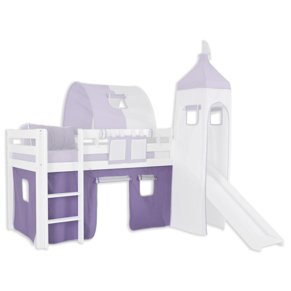 Vorhänge Stoff-Set - Farbe:Lila/Weiß
