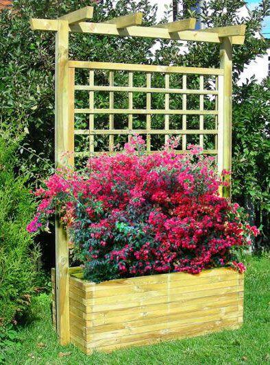 Blumenkasten mit Rankgitter Lonicera groß - Abmessung:  180 x 50 x 210 cm (B x T x H)