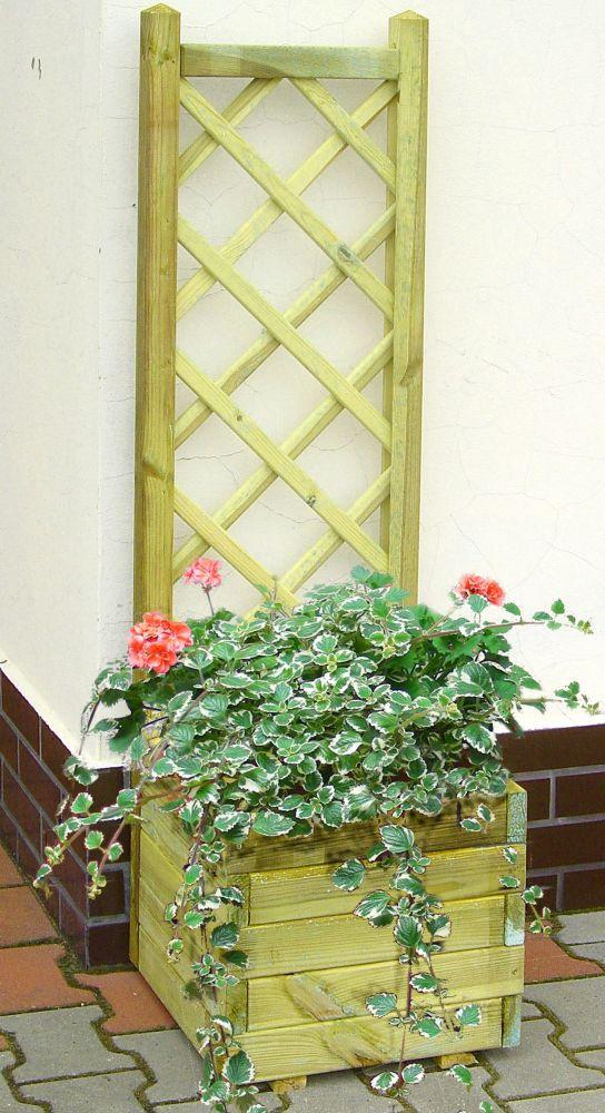 Blumenkasten mit Rankgitter Alata 1 - Abmessung: 40 x 40 x 140 cm (B x T x H)