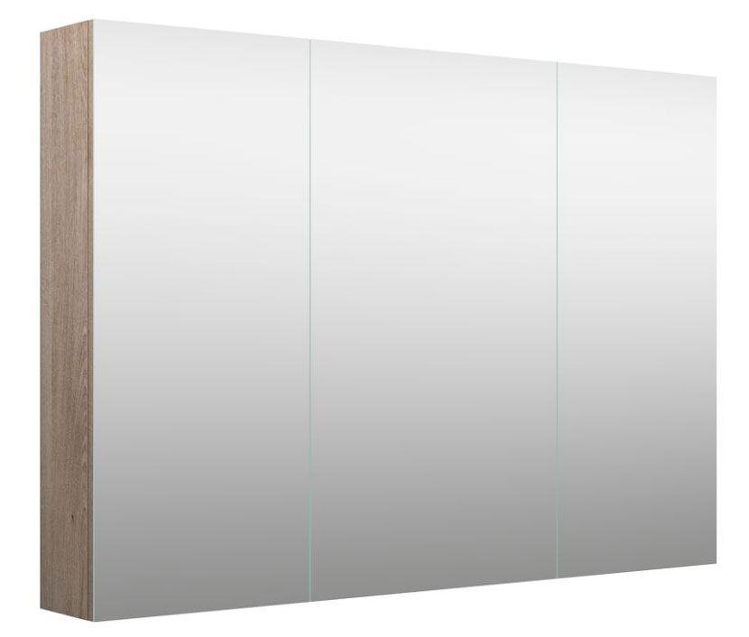 Badezimmer - Spiegelschrank Purina 06, Farbe: Eiche Grau – 70 x 100 x 14 cm (H x B x T)