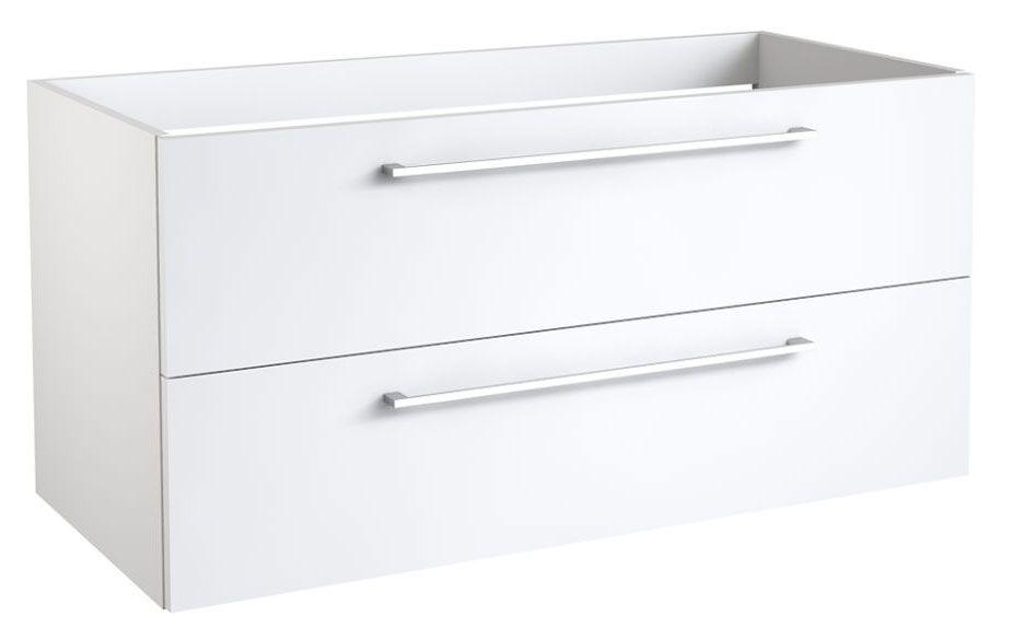 Waschtischunterschrank Rajkot 18 mit Siphonausschnitt, Farbe: Weiß glänzend – 50 x 99 x 45 cm (H x B x T)