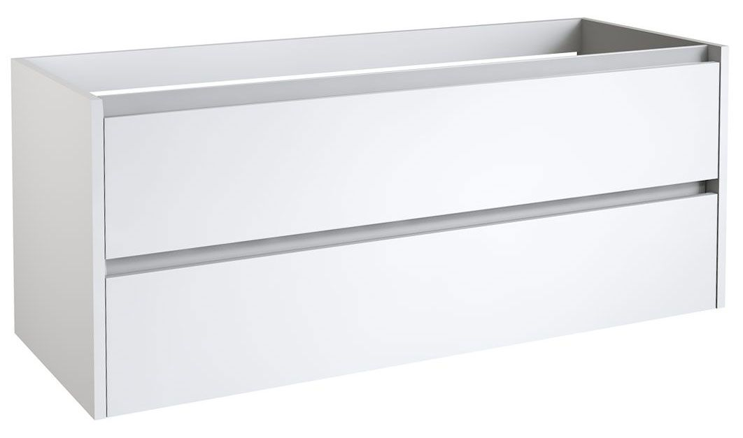 Waschtischunterschrank Kolkata 40 mit Siphonausschnitte für Doppelwaschtisch, Farbe: Weiß glänzend – 50 x 120 x 46 cm (H x B x T)