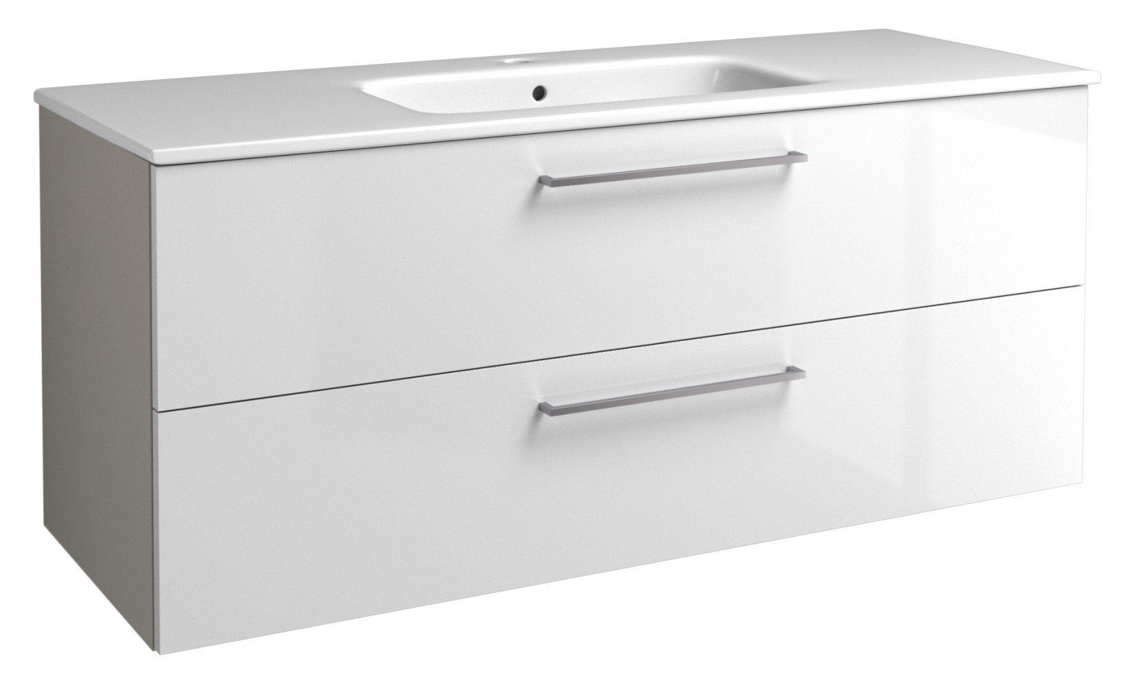 Waschtischunterschrank Noida 24, Farbe: Beige / Weiß glänzend – 50 x 121 x 46 cm (H x B x T)
