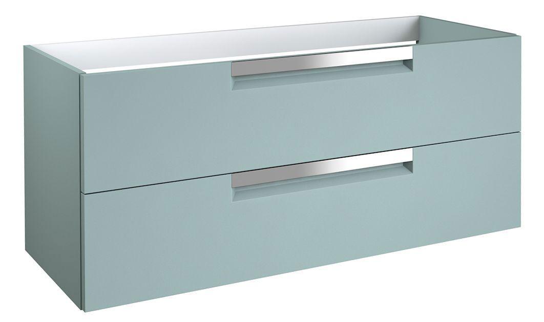 Waschtischunterschrank Meerut 40 mit Siphonausschnitte für Doppelwaschtisch, Farbe: Aquamarin – 50 x 119 x 45 cm (H x B x T)