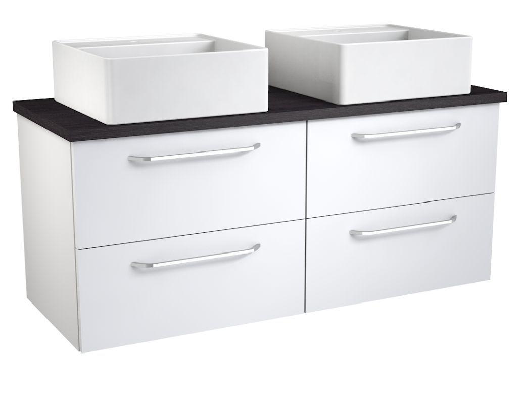 Waschtischunterschrank Barasat 77, Farbe: Weiß glänzend / Eiche Schwarz – 53 x 120 x 45 cm (H x B x T)