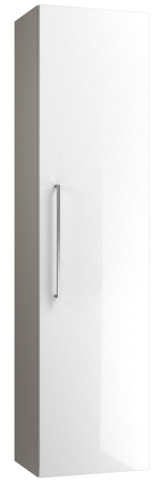 Badezimmer - Hochschrank Noida 41, Farbe: Beige / Weiß glänzend – 138 x 35 x 25 cm (H x B x T)