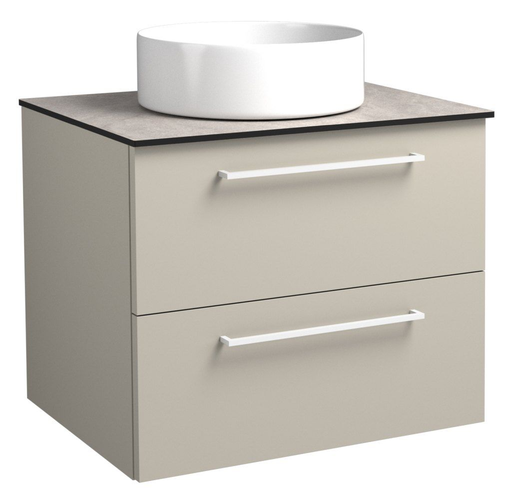 Waschtischunterschrank Noida 35, Farbe: Beige / Grau – 50 x 61 x 47 cm (H x B x T)