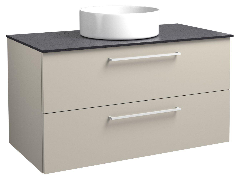 Waschtischunterschrank Noida 40, Farbe: Beige / Schwarz – 50 x 91 x 47 cm (H x B x T)