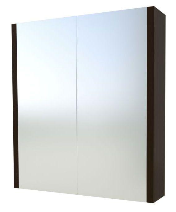 Bad - Spiegelschrank Bidar 11, Farbe: Eiche Schwarz – 65 x 75 x 12 cm (H x B x T)