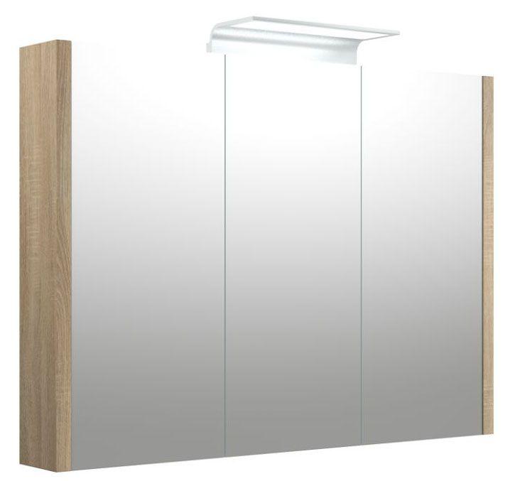Bad - Spiegelschrank Bidar 27, Farbe: Eiche – 65 x 90 x 12 cm (H x B x T)