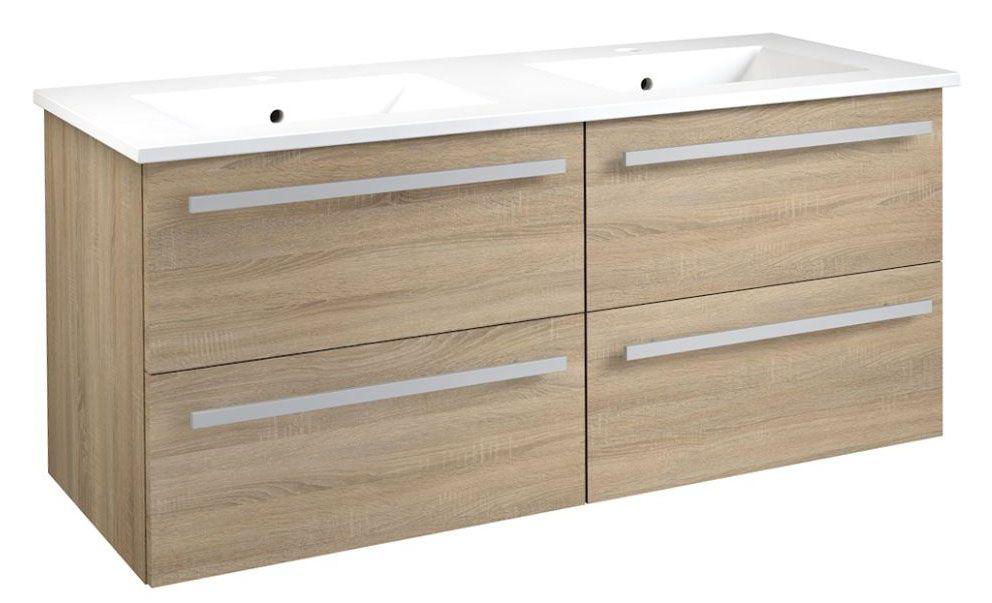 Waschtischunterschrank Bidar 48, Farbe: Eiche – 50 x 121 x 46 cm (H x B x T)