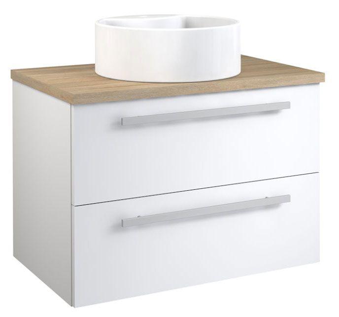 Waschtischunterschrank Bidar 54, Farbe: Weiß glänzend / Eiche – 53 x 75 x 45 cm (H x B x T)
