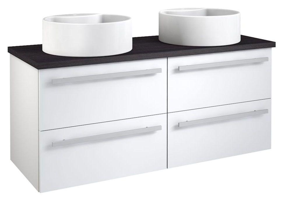 Waschtischunterschrank Bidar 61, Farbe: Weiß glänzend / Eiche Schwarz – 53 x 120 x 45 cm (H x B x T)