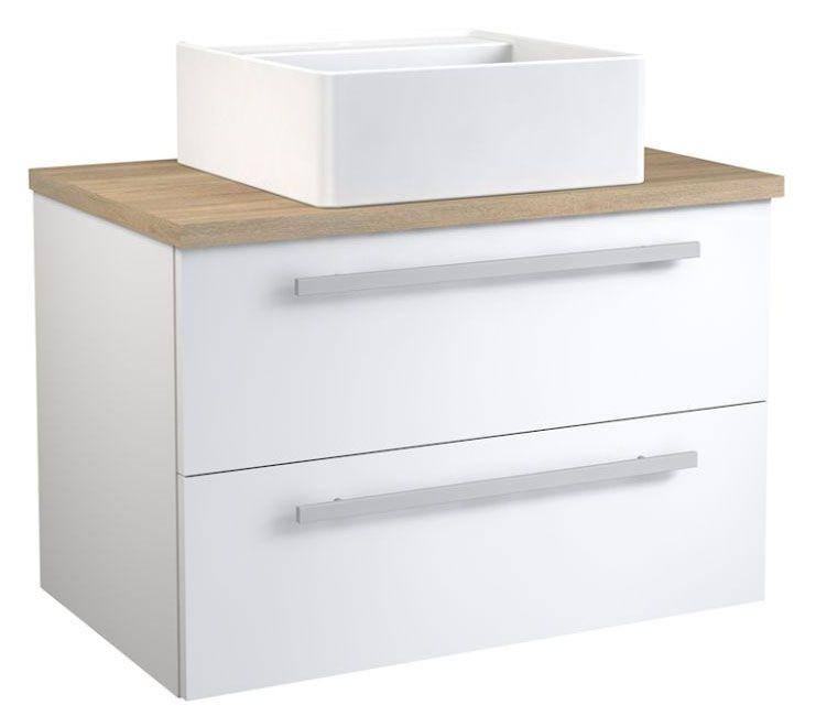 Waschtischunterschrank Bidar 70, Farbe: Weiß glänzend / Eiche – 53 x 75 x 46 cm (H x B x T)