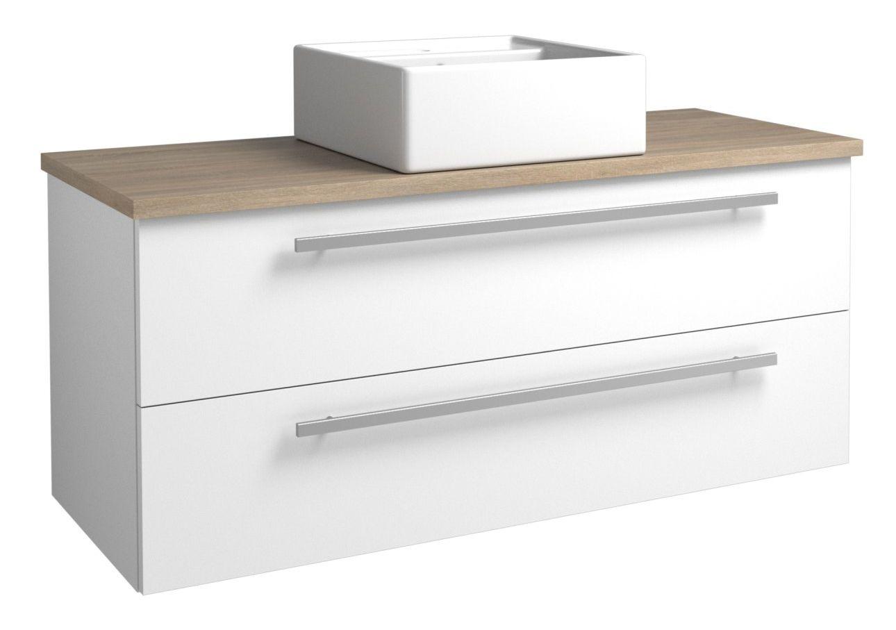 Waschtischunterschrank Bidar 98, Farbe: Weiß glänzend / Eiche Grau – 50 x 121 x 45 cm (H x B x T)