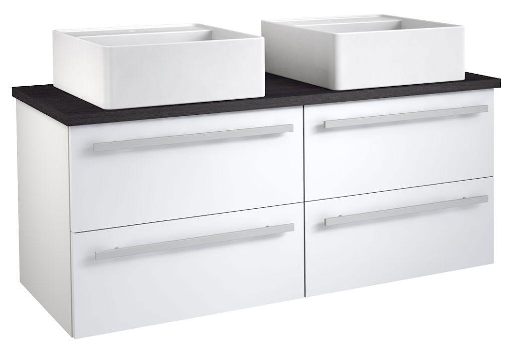 Waschtischunterschrank Bidar 77, Farbe: Weiß glänzend / Eiche Schwarz – 53 x 120 x 45 cm (H x B x T)