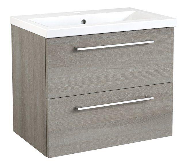 Waschtischunterschrank Nadiad 47, Farbe: Esche Grau – 50 x 61 x 39 cm (H x B x T)