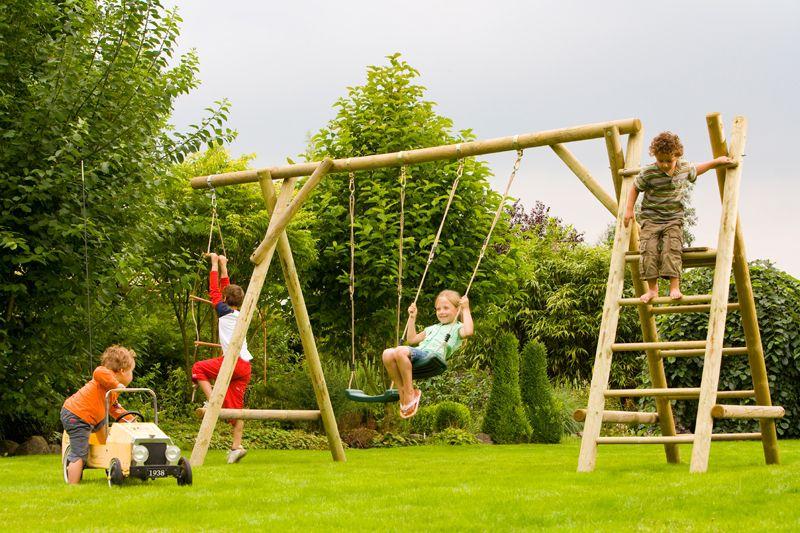 Doppelschaukel Rundholz FSC® Wills Park - mit Podest und Strickleiter, kesseldruckimprägniert