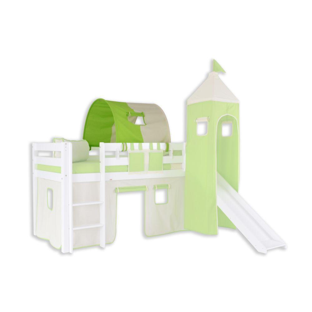 1er Tunnel zu Hoch- und Etagenbetten - Farbe:Grün/Beige