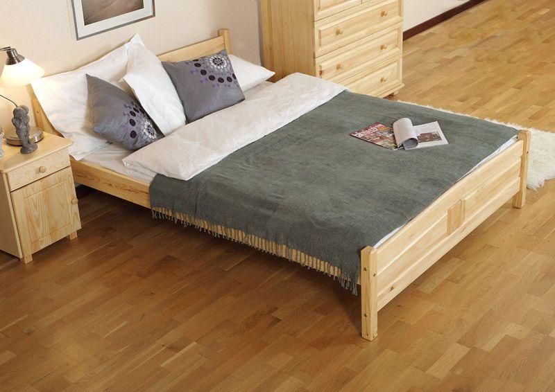 Doppelbett / Gästebett Kiefer Vollholz massiv natur A13, inkl. Lattenrost - Abmessung 160 x 200 cm