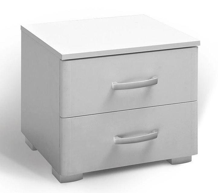 Nachtkästchen Lepe 02, Farbe: Weiß - 46 x 49 x 38 cm (H x B x T)