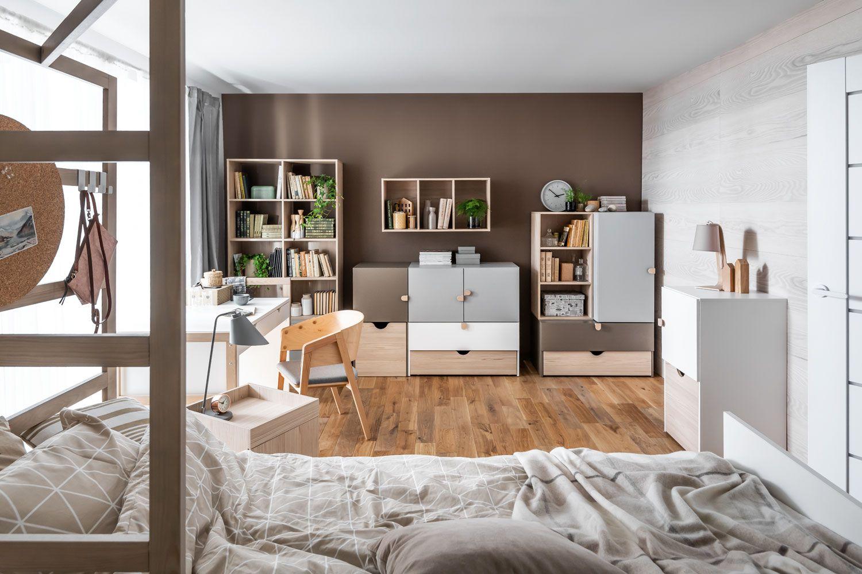 Jugendzimmer Komplett - Set A Skalle, 13-teilig, Farbe: Braun / Weiß / Grau