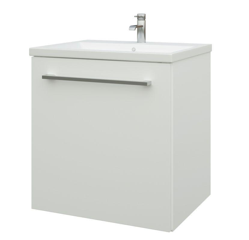 Waschtischunterschrank Nadiad 21, Farbe: Weiß glänzend – 50 x 51 x 39 cm (H x B x T)