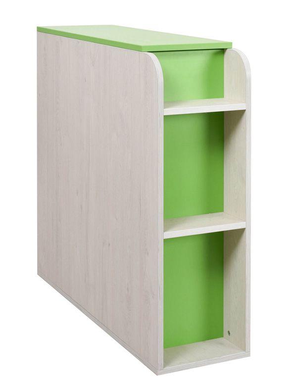 Kinderzimmer - Truhe Luis 03, Farbe: Eiche Weiß / Grün - 92 x 30 x 103 cm (H x B x T)