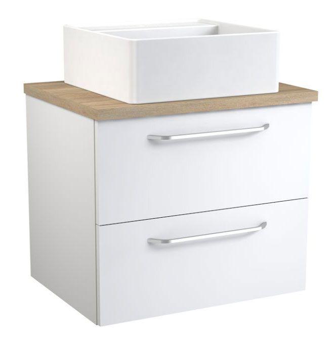 Waschtischunterschrank Barasat 66, Farbe: Weiß glänzend / Eiche – 53 x 60 x 45 cm (H x B x T)