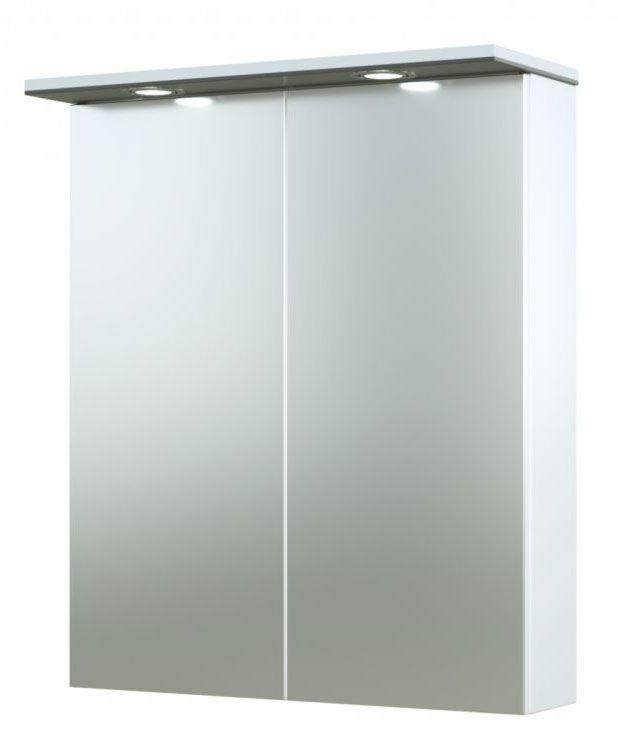 Bad - Spiegelschrank Bijapur 02, Farbe: Grau glänzend – 73 x 61 x 14 cm (H x B x T)