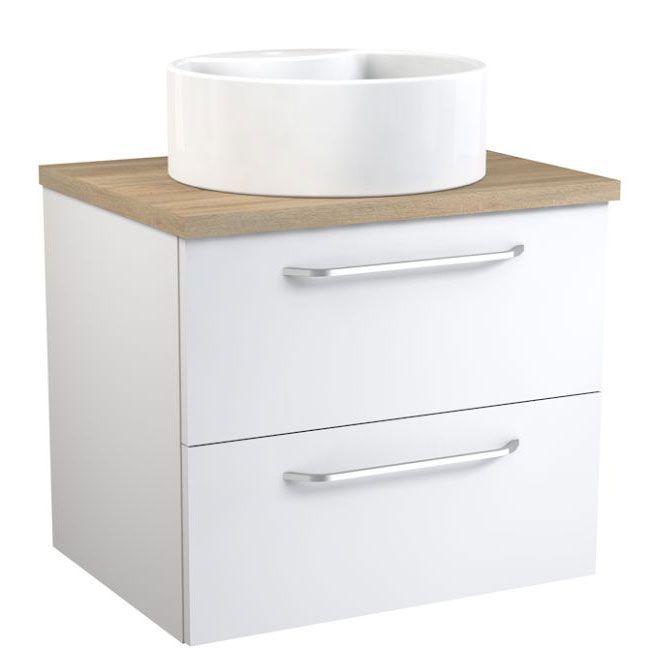 Waschtischunterschrank Barasat 50, Farbe: Weiß glänzend / Eiche – 53 x 60 x 45 cm (H x B x T)