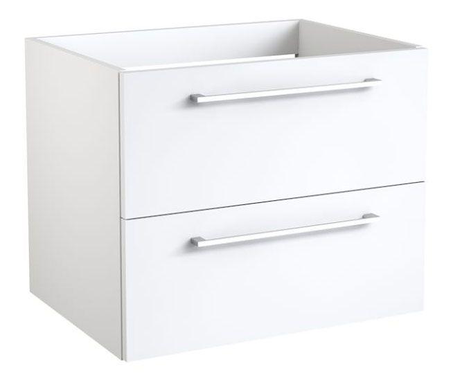 Waschtischunterschrank Pune 06 mit Siphonausschnitt, Farbe: Weiß glänzend – 50 x 59 x 38 cm (H x B x T)