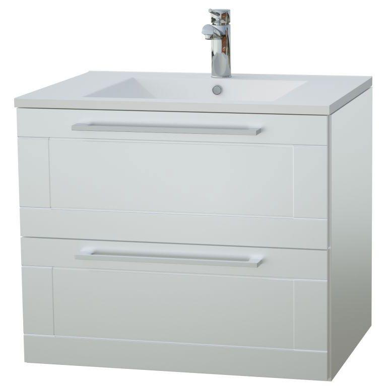 Waschtischunterschrank Eluru 07, Farbe: Weiß glänzend – 50 x 62 x 47 cm (H x B x T)