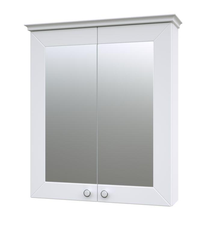 Badezimmer - Spiegelschrank Dindigul 01, Farbe: Weiß matt – 73 x 64 x 17 cm (H x B x T)
