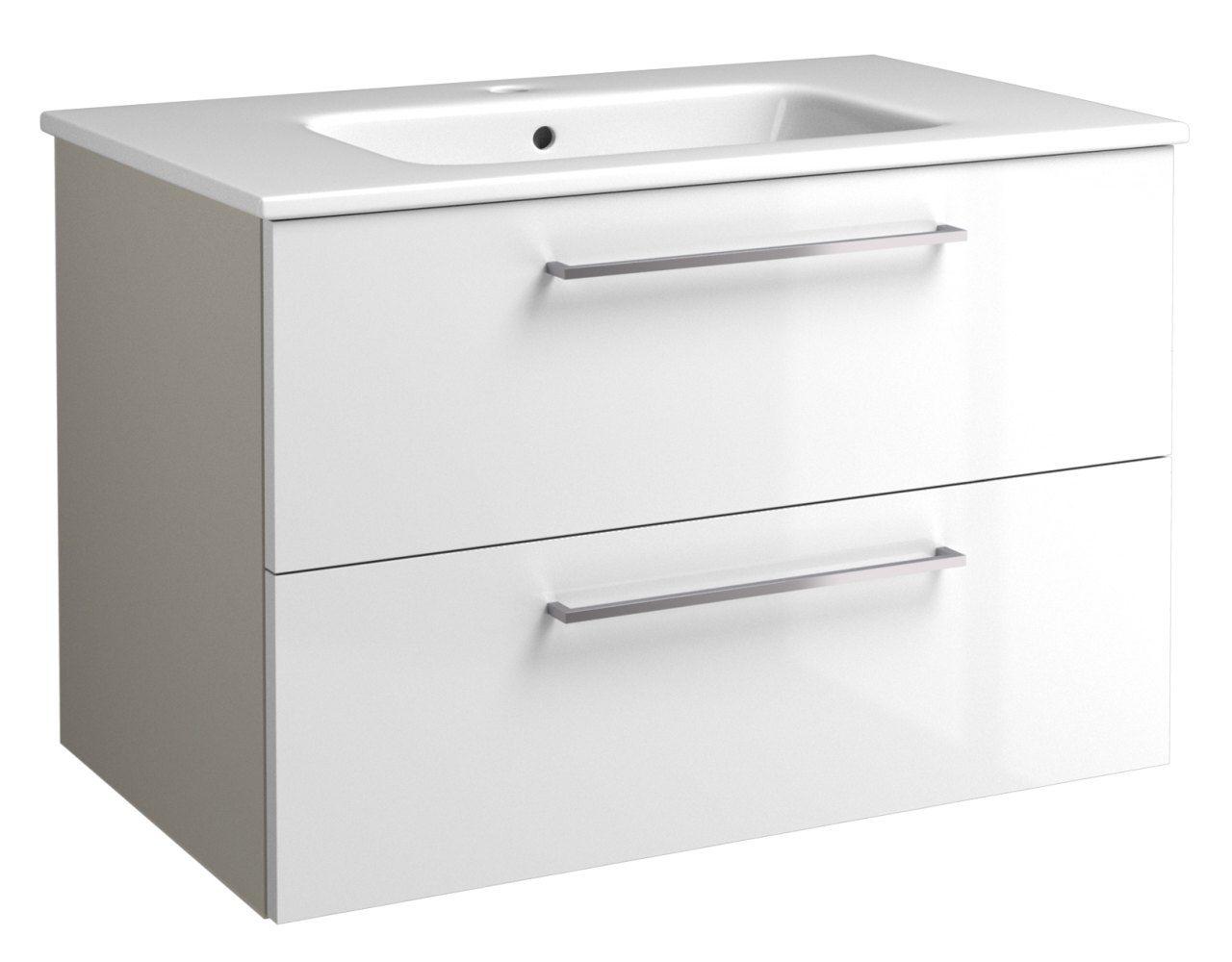 Waschtischunterschrank Noida 14, Farbe: Beige / Weiß glänzend – 50 x 76 x 46 cm (H x B x T)