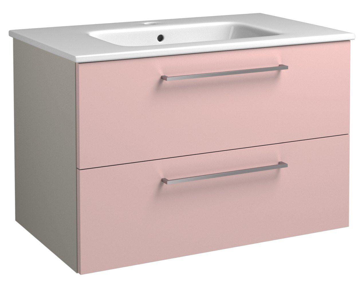 Waschtischunterschrank Noida 15, Farbe: Beige / Rosa – 50 x 76 x 46 cm (H x B x T)
