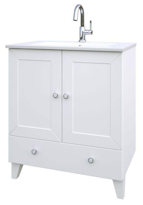Waschtischunterschrank Dindigul 26, Farbe: Weiß matt – 85 x 76 x 47 cm (H x B x T)