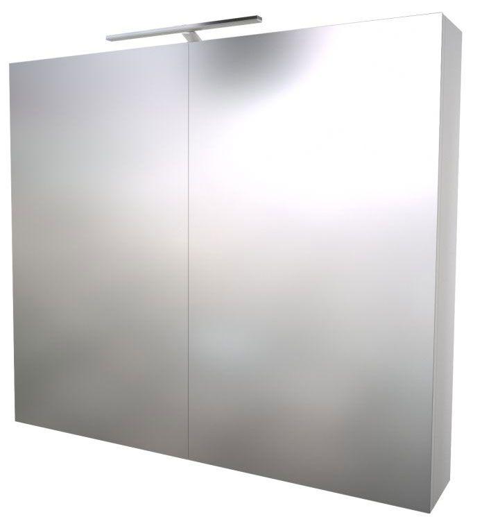 Badezimmer - Spiegelschrank Nadiad 12, Farbe: Weiß glänzend – 70 x 80 x 14 cm (H x B x T)