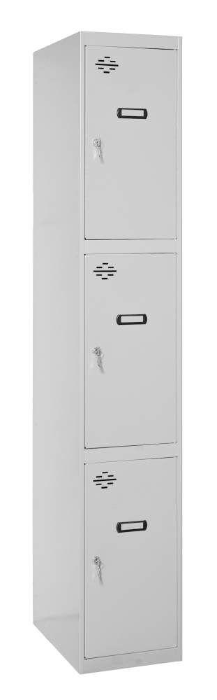 Schrank mit 3 Fächern unmontiert, Farbe: Grau, Maße: 180 x 30 x 50 cm (H x B x T) - Anbaumodul
