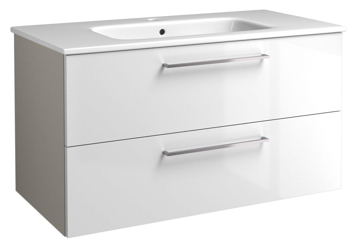 Waschtischunterschrank Noida 19, Farbe: Beige / Weiß glänzend – 50 x 91 x 46 cm (H x B x T)