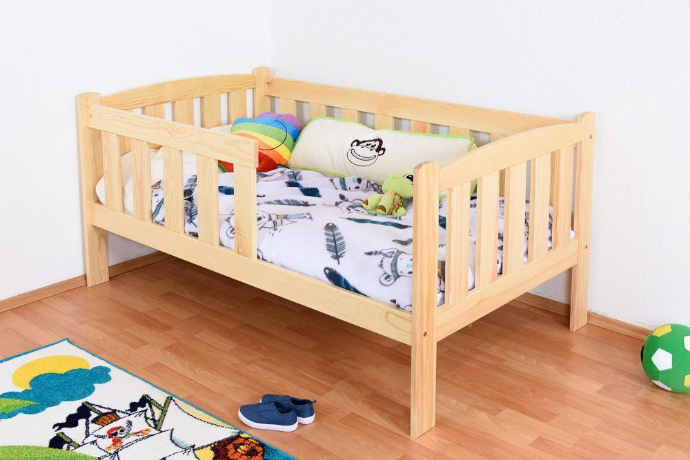 Kinderbett / Juniorbett Kiefer massiv Vollholz natur 96, inkl. Lattenrost - 90 x 160 cm (B x L)