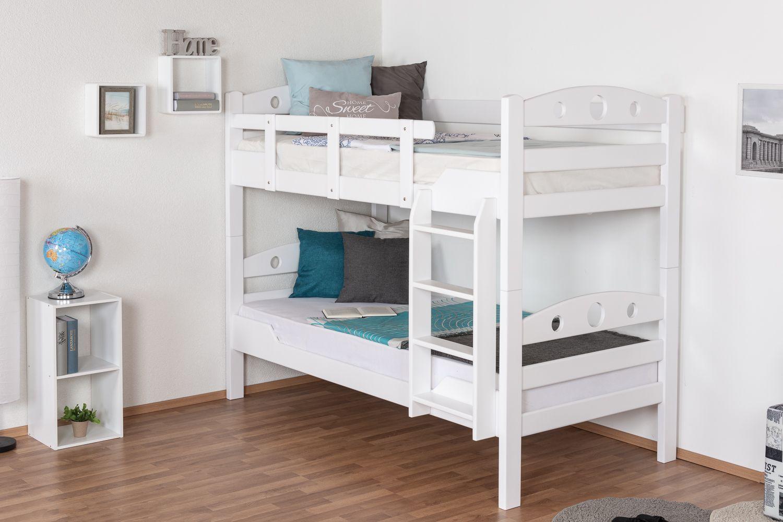 """Stockbett für Erwachsene """"Easy Premium Line"""" K11/n/1, Kopf- und Fußteil mit Löchern, Buche Vollholz massiv Weiß - 90 x 190 cm (B x L), teilbar"""