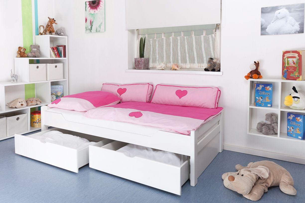 """Kinderbett / Jugendbett """"Easy Premium Line"""" K1/1n inkl 2 Schubladen und 2 Abdeckblenden, 90 x 200 cm Buche Vollholz massiv weiß lackiert"""
