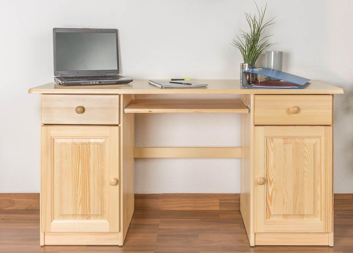 Schreibtisch  Kiefer massiv Vollholz natur 004 - Abmessung 74 x 145 x 55 cm (H x B x T)