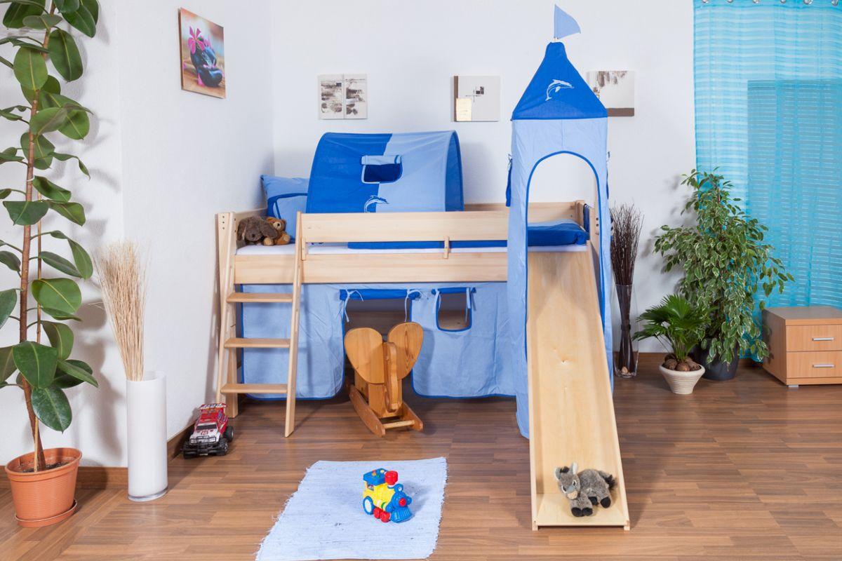 Kinderbett / Hochbett Tom mit Rutsche und Turm inkl. Rollrost - Material: Buche massiv natur,  Farbe: klar lackiert