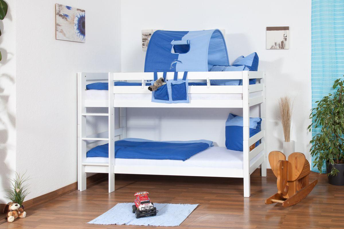 Kinderbett Etagenbett Felix inkl. Rollrost - Material: Buche massiv,  Farbe: weiß lackiert, teilbar