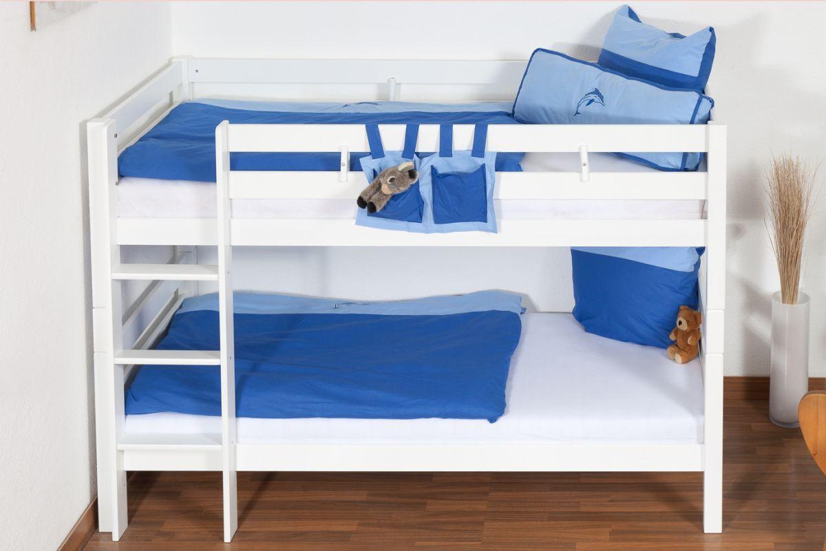 weißes Kinder Stockbett - Buche massiv 90x200 cm, teilbar auf 2 Betten